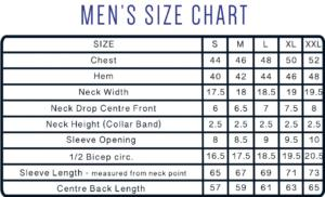Size Chart for Men's Rash Guard