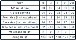 Size Chart for Men's Swim Trunks